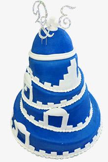 甘いヨーロッパを歩く~サントリーニ島のデコレーションケーキ x ケンゾーのパームツリー柄サンダル