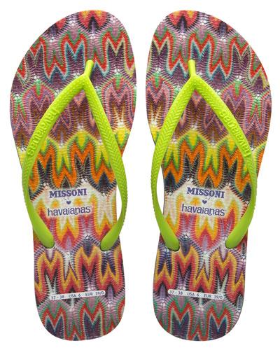 havaianas×MISSONIのクール&エレガントなビーチサンダル/ビーチサンダル(オレンジ×ライムグリーン)