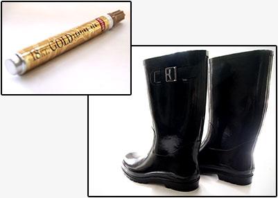 【D.I.Y.】無地の長靴をゴールドのレオパード柄にカスタマイズ