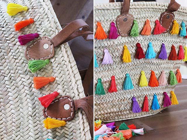 【D.I.Y.】かごバッグに手作りタッセルをデコっておしゃれメキシカンなマルチバッグを作ろう!